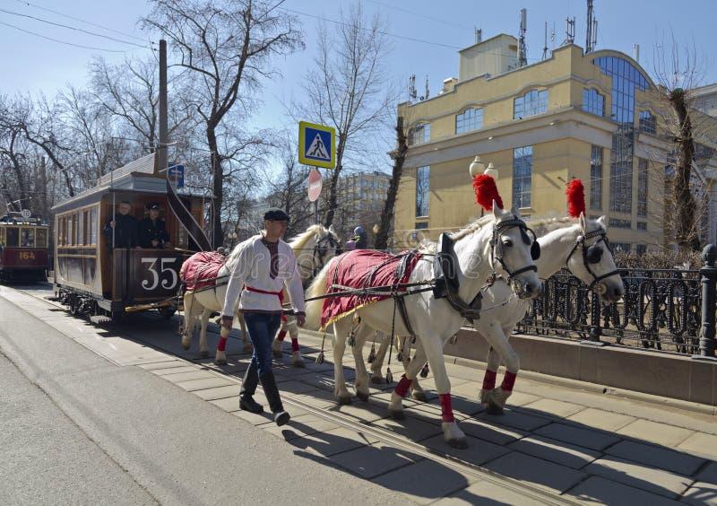 Le premier tram à Moscou au 19ème siècle - tram hippomobile photo stock