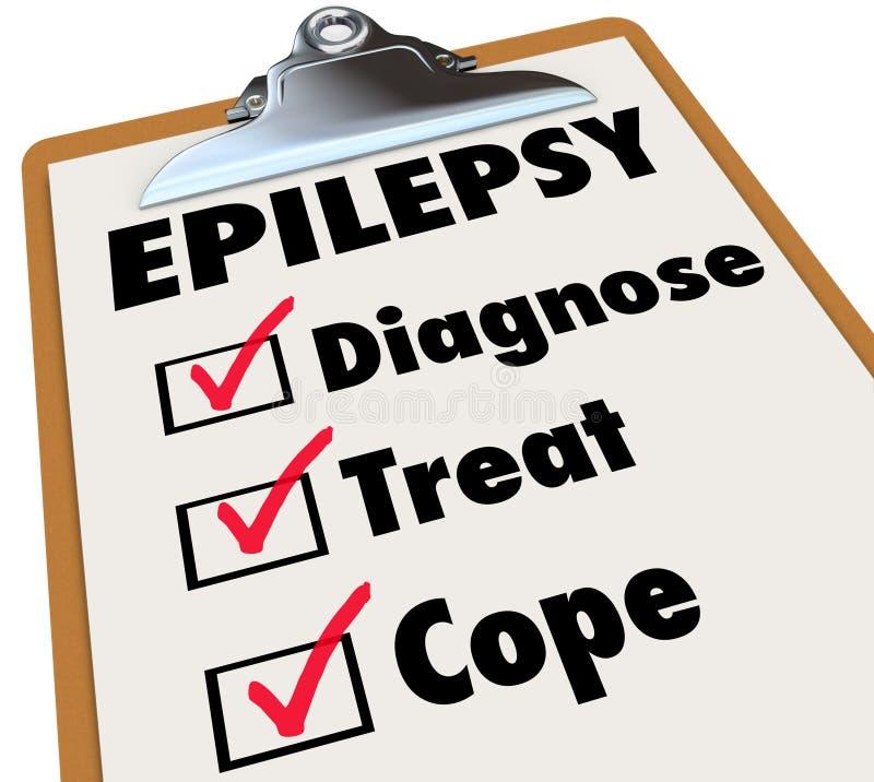 Le presse-papiers de liste de contrôle d'épilepsie diagnostiquent le festin font face au désordre illustration libre de droits
