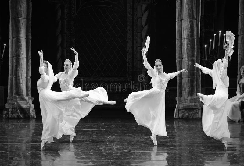 Le prince blanc russe de robe-Le de dentelle lac swan d'acte-ballet de mitzvah-Le de barre du troisième photos libres de droits