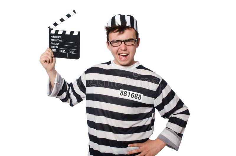 Le prisonnier d'isolement sur le fond blanc photos libres de droits