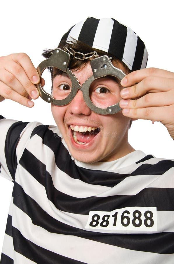 Le prisonnier d'isolement sur le fond blanc photos stock