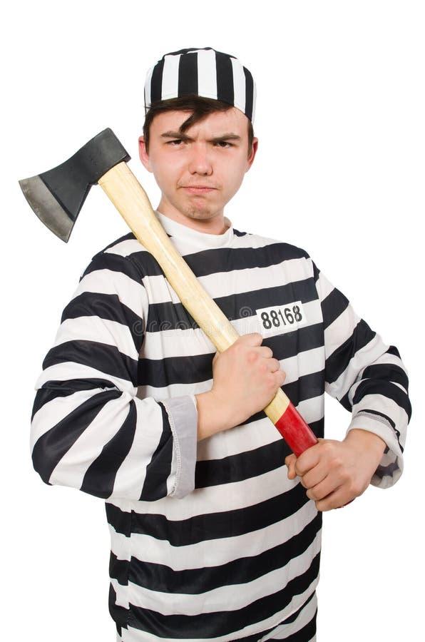 Le prisonnier d'isolement sur le fond blanc image stock