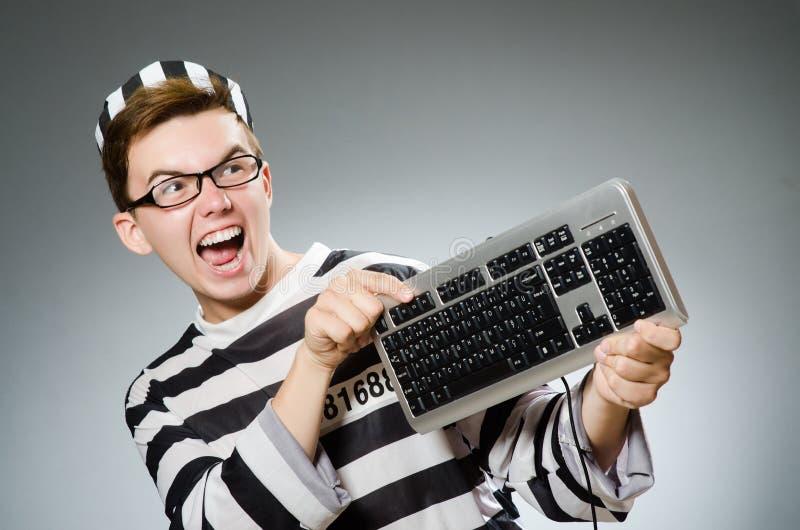 Le prisonnier drôle dans le concept de prison images stock