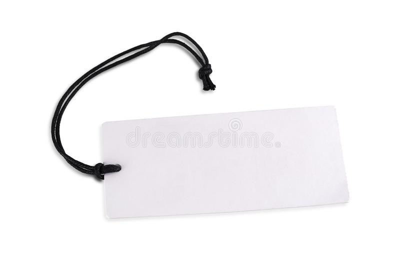 Le prix à payer ou le label blanc vide de carton d'isolement sur le fond blanc images libres de droits