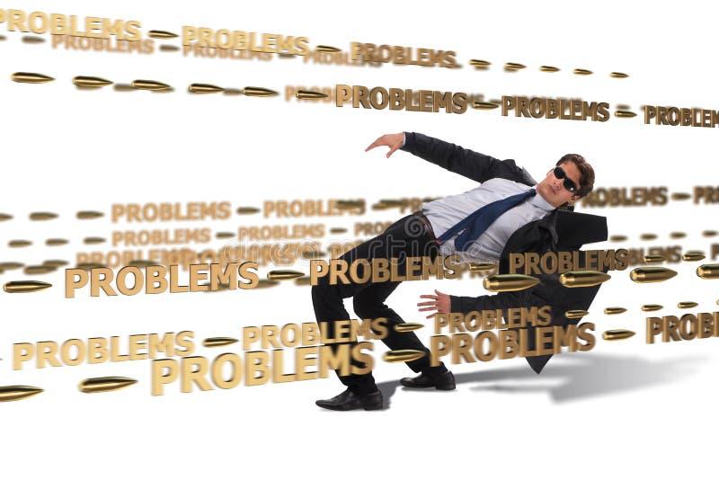 Le problème commercial et le concept de défi avec l'homme d'affaires images stock