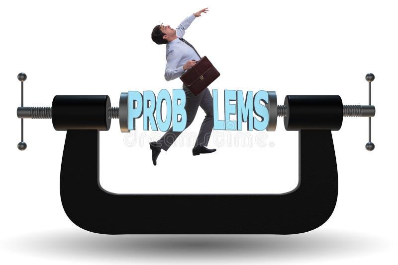 Le problème commercial et le concept de défi avec l'homme d'affaires illustration stock