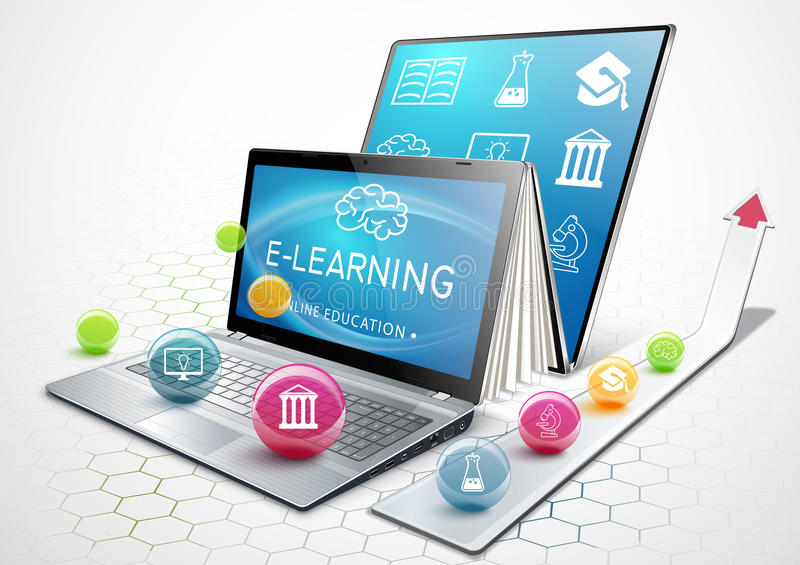 Le processus de l'éducation Ordinateur portable comme ebook Éducation en ligne le concept de livre de fond de pomme prudemment a  illustration stock