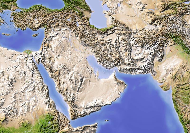 Le Proche Orient. Carte d'allégement ombragée. illustration stock