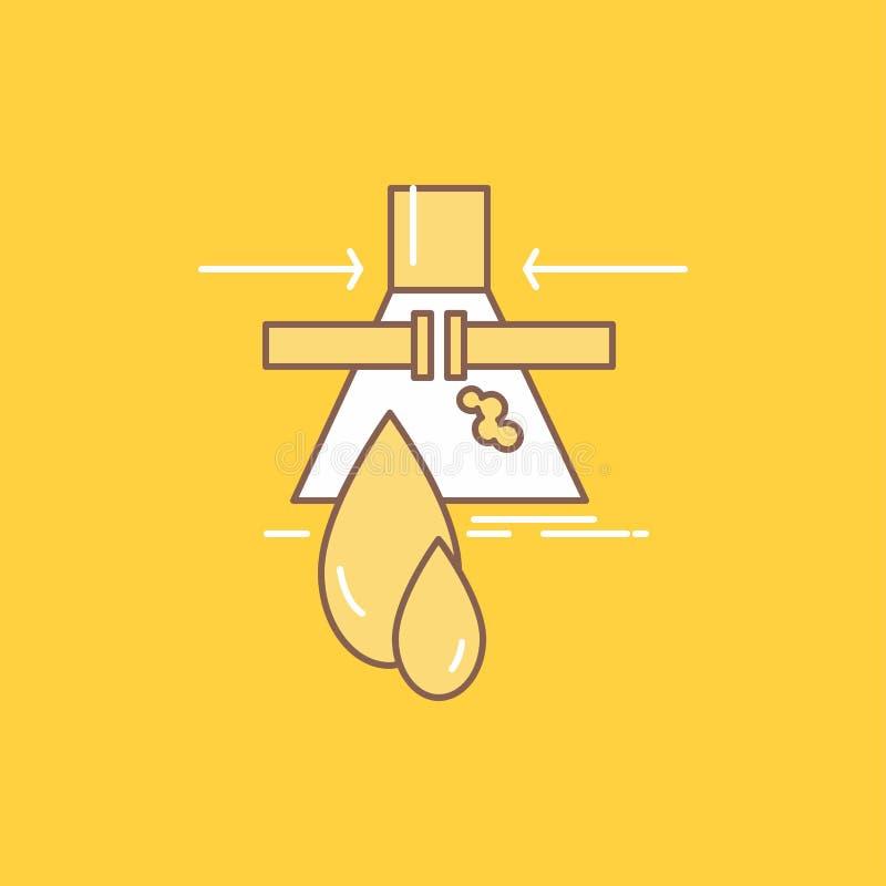 Le produit chimique, fuite, détection, usine, ligne plate de pollution a rempli icône Beau bouton de logo au-dessus de fond jaune illustration de vecteur