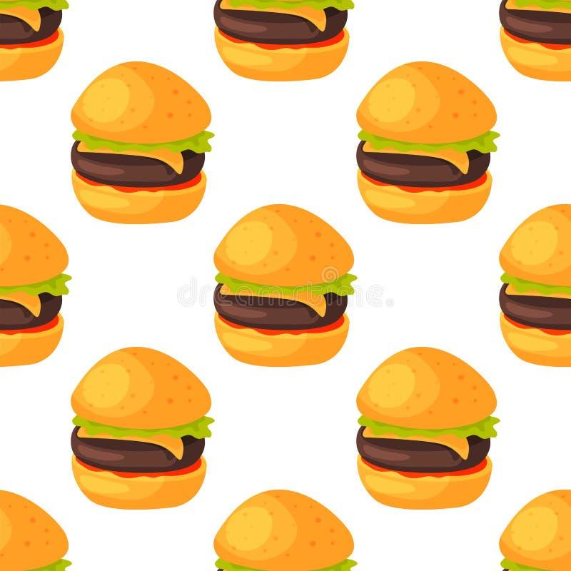 Le produit de modèle d'aliments de préparation rapide de restaurant naturel sans couture de menu et l'hamburger frais de repas de illustration de vecteur
