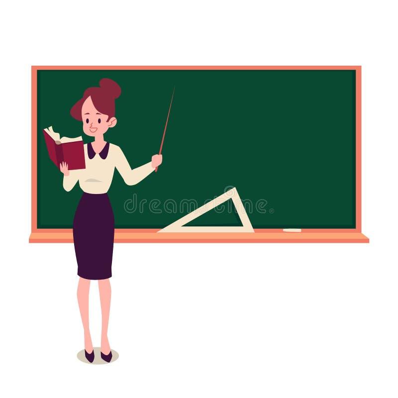 Le professeur féminin se tient au style de livre de participation de tableau noir et de bande dessinée d'indicateur illustration libre de droits