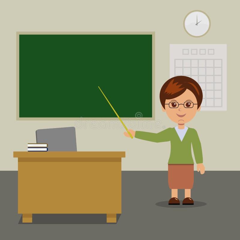 Le professeur se tient au tableau noir dans la classe illustration libre de droits