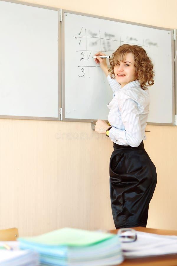 Le professeur se tient au tableau noir et à l'écriture dans la salle de classe photos stock