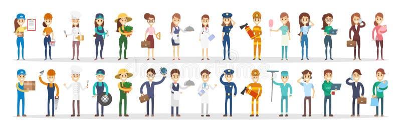 Le professioni coppia l'insieme illustrazione di stock