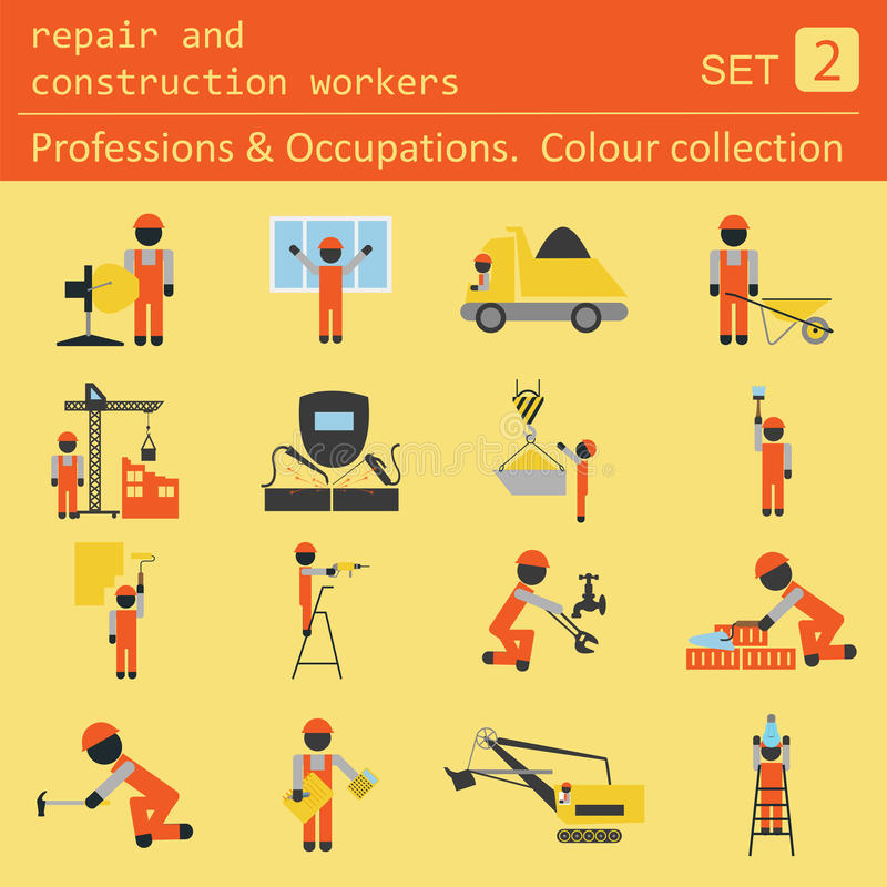 Le professioni e le occupazioni hanno colorato l'insieme dell'icona Riparazione e constr royalty illustrazione gratis