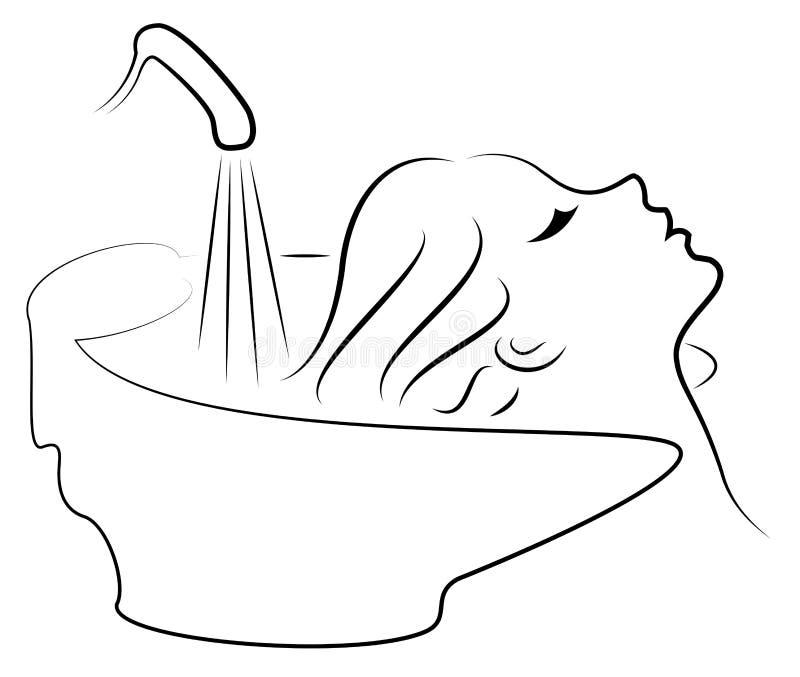 Le profil principal d'une dame mignonne La fille dans le salon de beaut? La femme se lave les cheveux au coiffeur, lave Vecteur illustration de vecteur