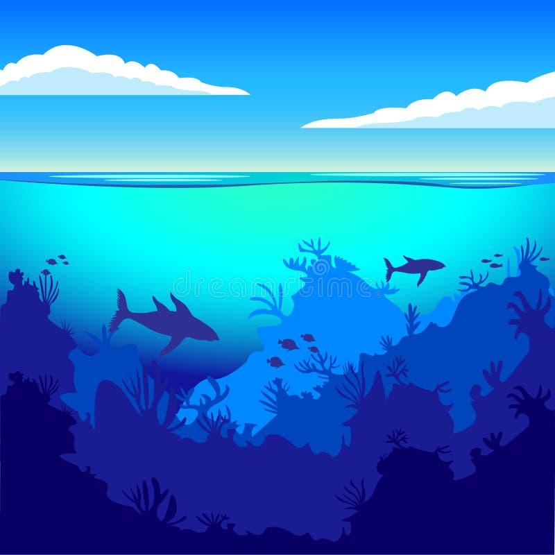 Le profondità dell'oceano, sul fondale marino, subacqueo Stile piano illustrazione di stock