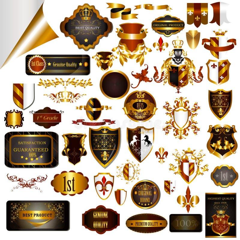 Le progettazioni d'annata eleganti hanno messo per le etichette di lusso, il logos, ristorante illustrazione vettoriale
