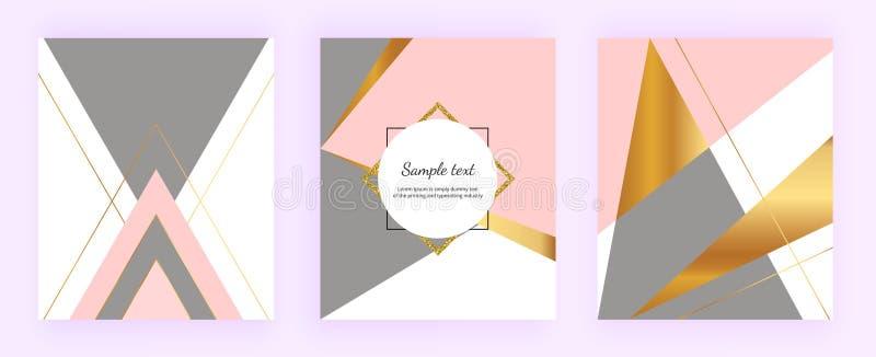 Le progettazioni geometriche della copertura, i triangoli con oro, rosa e grey colora il fondo Modello per l'invito di progettazi royalty illustrazione gratis