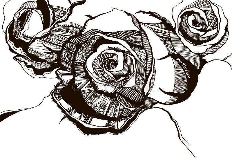 Le programme d'épines de Rose laisse le noir d'aquarelle illustration stock