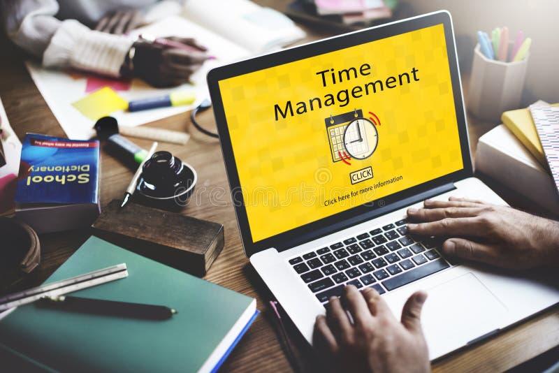 Le programme de gestion du temps note le concept important de tâche image libre de droits