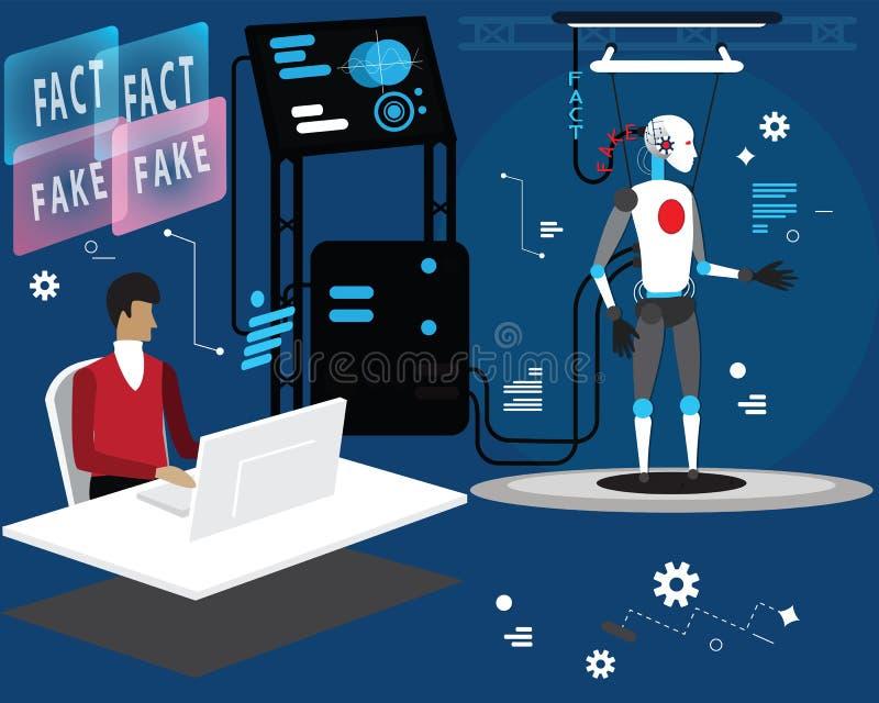 Le programmeur charge les faits et les fausses nouvelles au robot, concept vectoriel plat illustration processus de chargement de