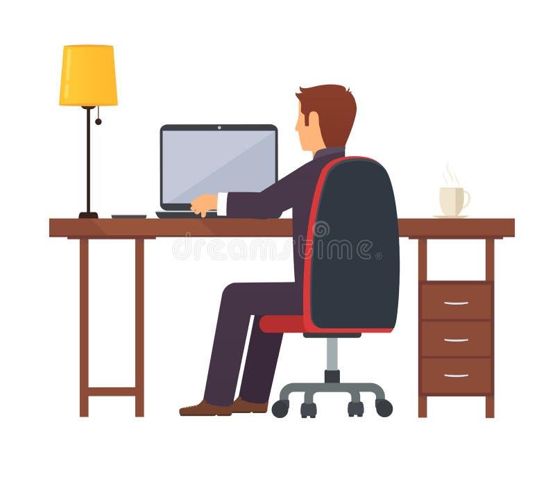 Le programmeur d'homme d'affaires travaille sur un ordinateur portable portatif illustration de vecteur