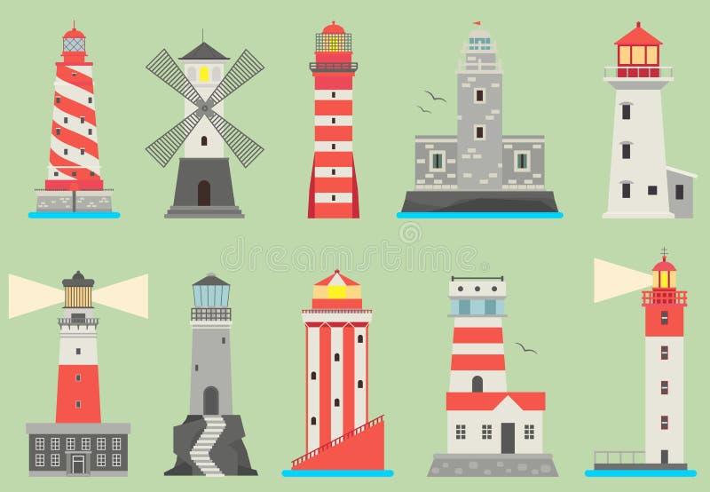Le projecteur plat de phares de vecteur de mer et d'océan domine pour le feu de balisage d'océan et de mer de conseils de navigat illustration stock