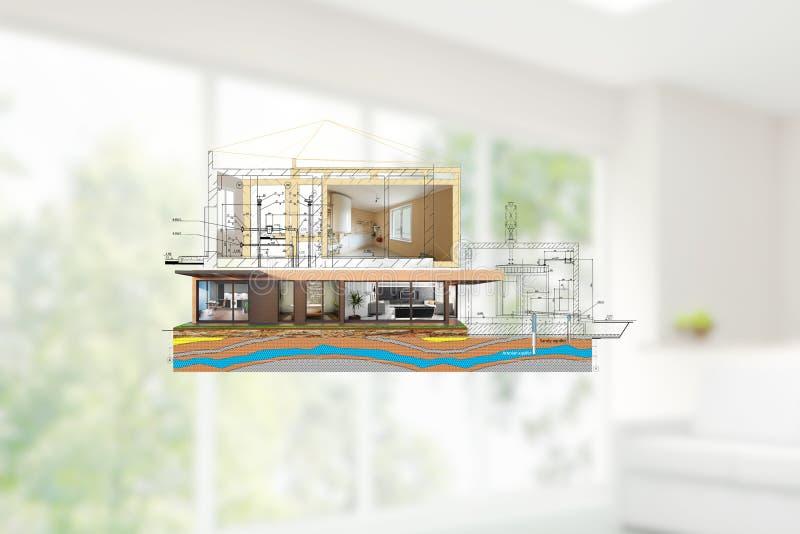 Le projet d'une maison de deux étages de luxe avec une conception moderne illustration de vecteur
