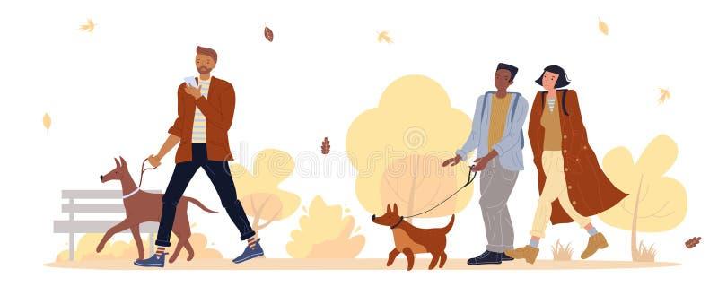 Le propriétaire d'un animal de compagnie se promène dans un parc d'automne sous la feuille illustration stock