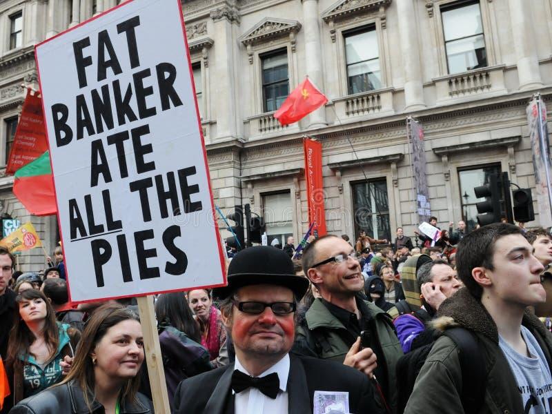 Le protestataire à l'Anti-A coupé le rassemblement à Londres images libres de droits