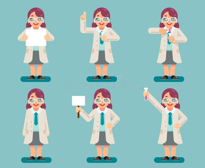 Le provette chimiche dello scienziato astuto saggio femminile sperimentano vettore piano dell'insieme delle icone del carattere d illustrazione di stock