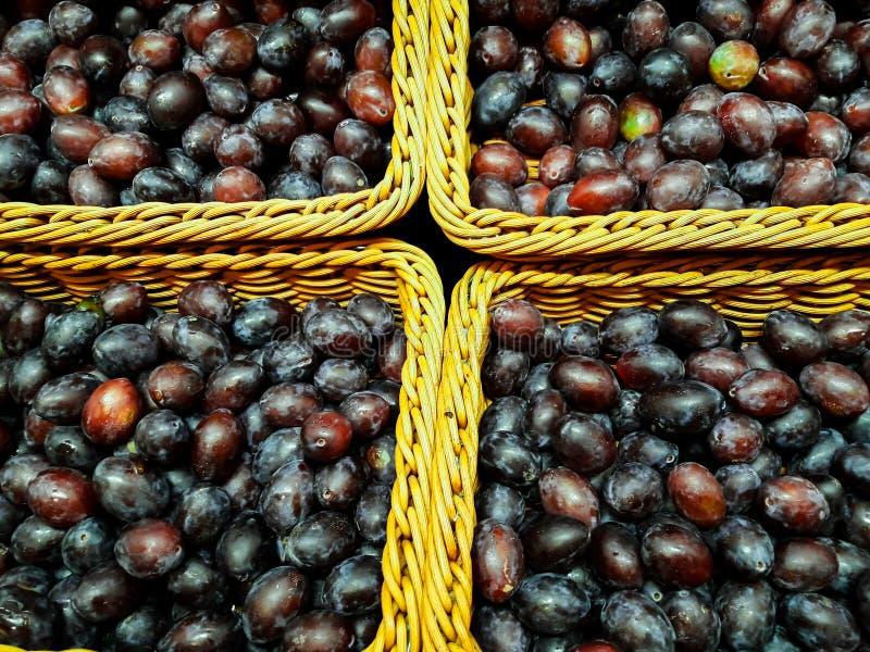 Le prugne fresche sane sono consumate direttamente dall'agricoltura fotografie stock