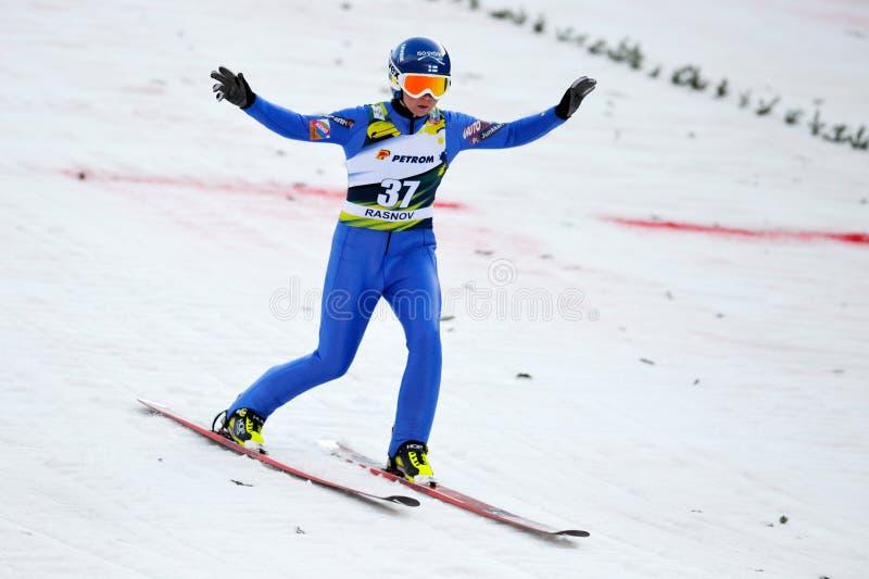 Le pullover de ski inconnu concurrence images libres de droits
