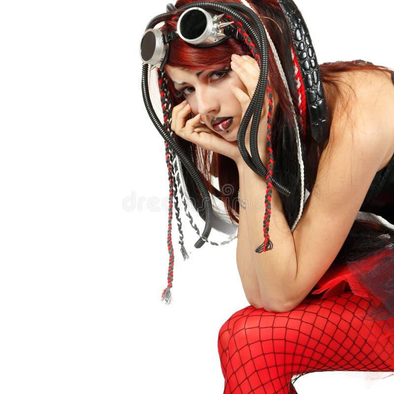 Le punk informel de ciber de fille de l'adolescence de dépression a pleuré seul image libre de droits