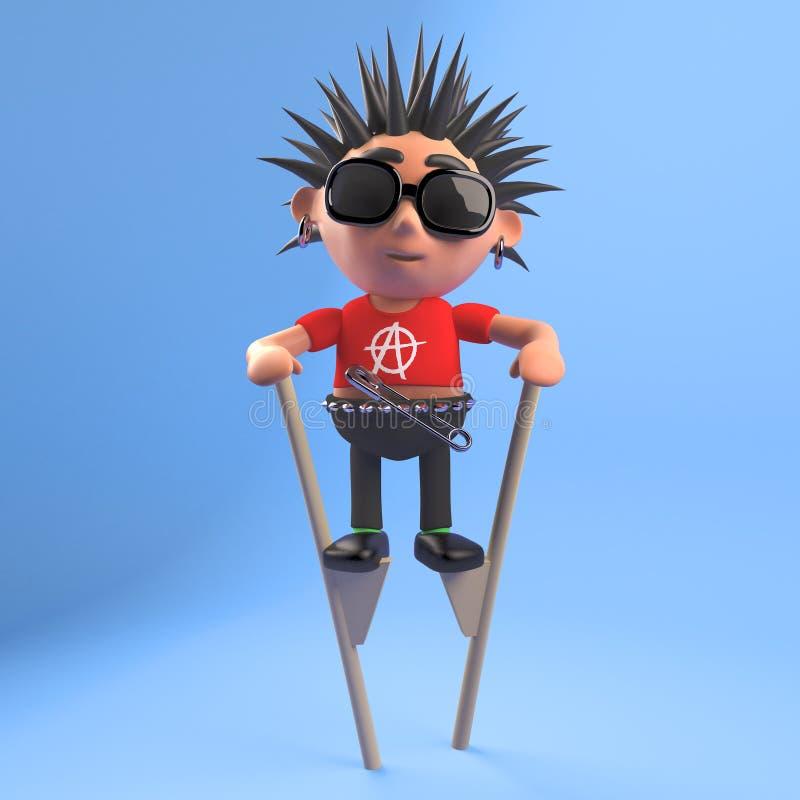 Le punk rock idiot badinent la marche sur des échasses, l'illustration 3d illustration stock
