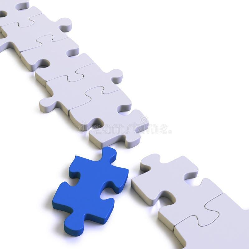 Parties d'un puzzle ou d'une solution avec le chaînon manquant bleu illustration de vecteur