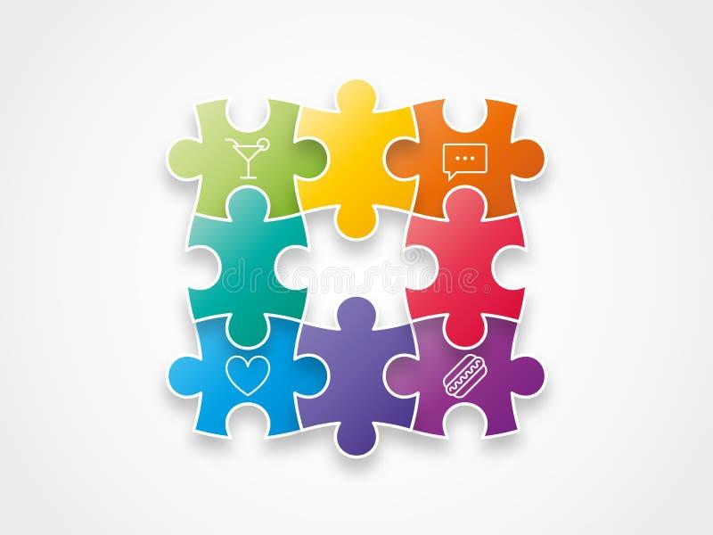 Le puzzle coloré d'arc-en-ciel de spectre rapièce former un graphique d'illustration de vecteur de cercle d'isolement sur le fond illustration stock