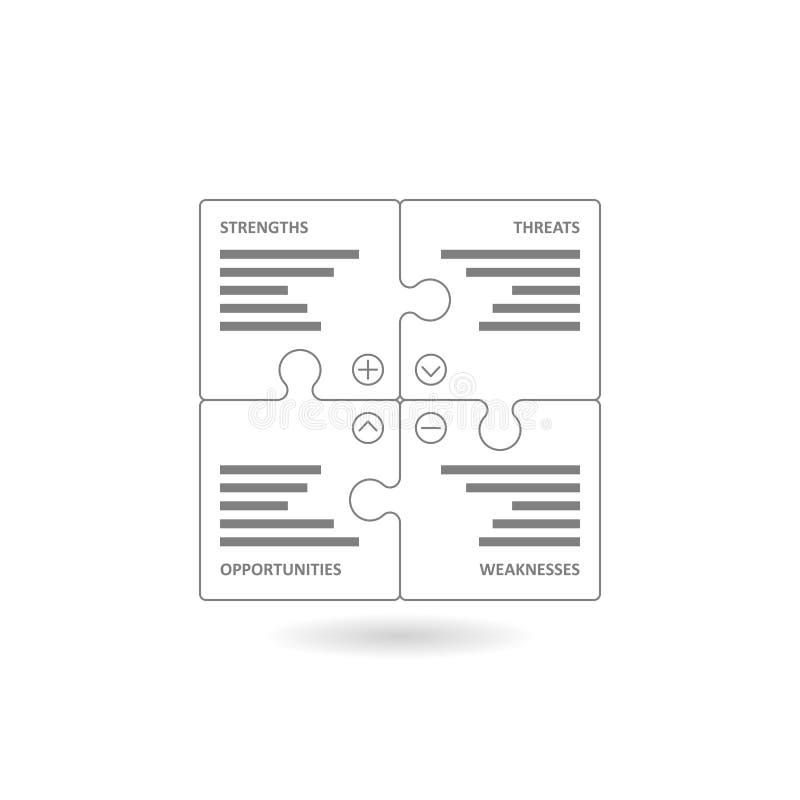 Le puzzle coloré rapièce former un diagramme carré de bûcheur illustration stock