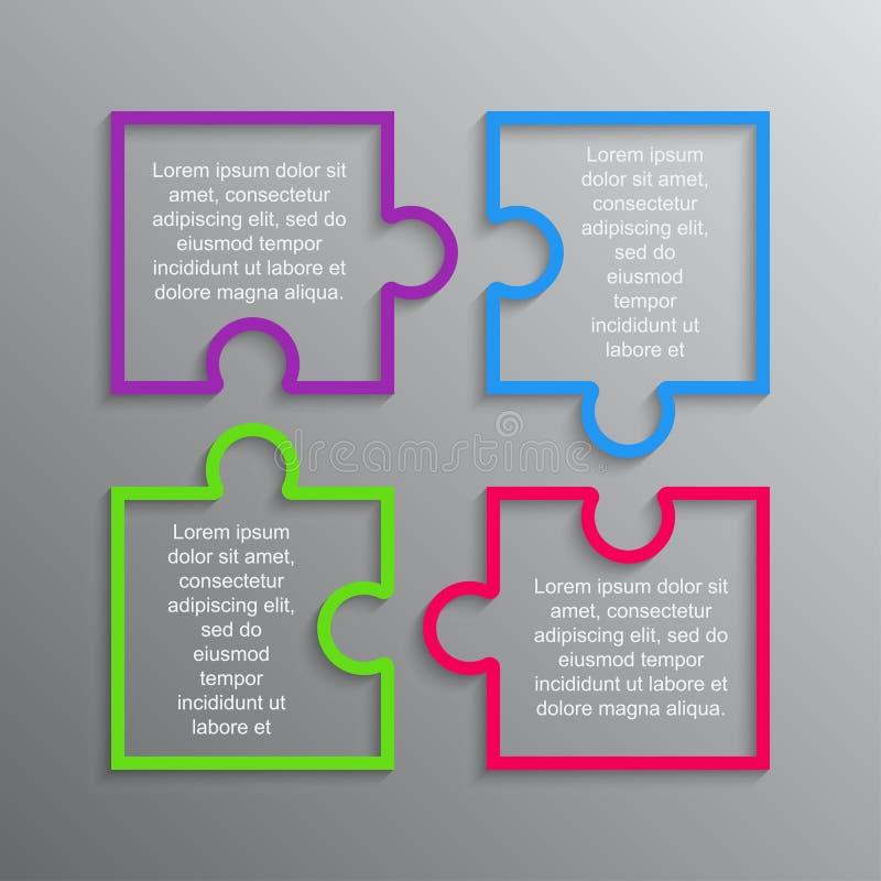 Le puzzle d'étapes de la place quatre d'Infographics de puzzle illustration stock