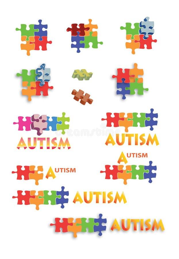 Le puzzle d'autisme rapièce et intitule le feuillet plein B1 illustration de vecteur