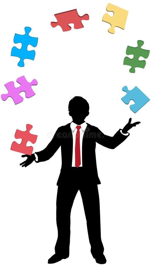 Le puzzle de jonglerie d'homme d'affaires rapièce des problèmes illustration stock