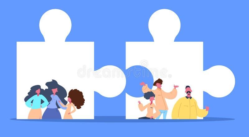 Le puzzle de pièces d'homme de femme résolvent l'appartement horizontal de portrait hommes-femmes de concept de solution de puzzl illustration stock