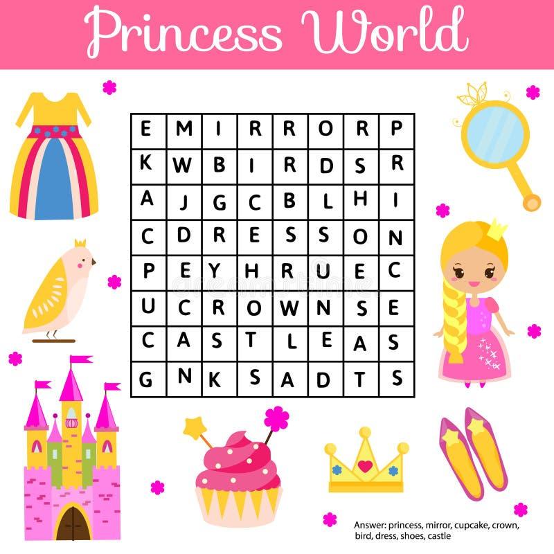 Le puzzle de recherche de Word badine l'activité Jeu éducatif d'enfants pour des filles Étude du vocabulaire Monde de princesse illustration libre de droits