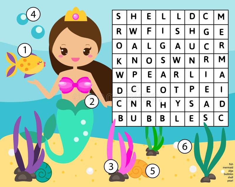 Le puzzle de recherche de Word badine l'activité Jeu éducatif d'enfants pour des filles Étude du vocabulaire Monde de sirène illustration libre de droits