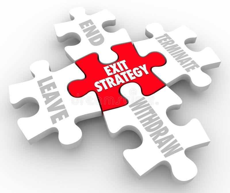 Le puzzle de stratégie de sortie rapièce la clause de plan de sortie de mots illustration libre de droits