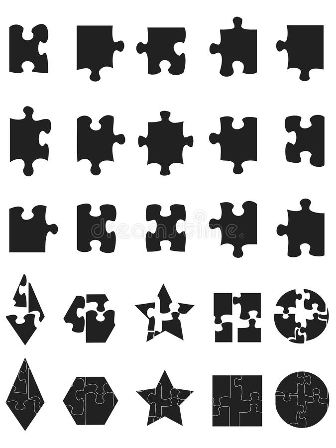 Le puzzle denteux noir rapièce le graphisme illustration stock