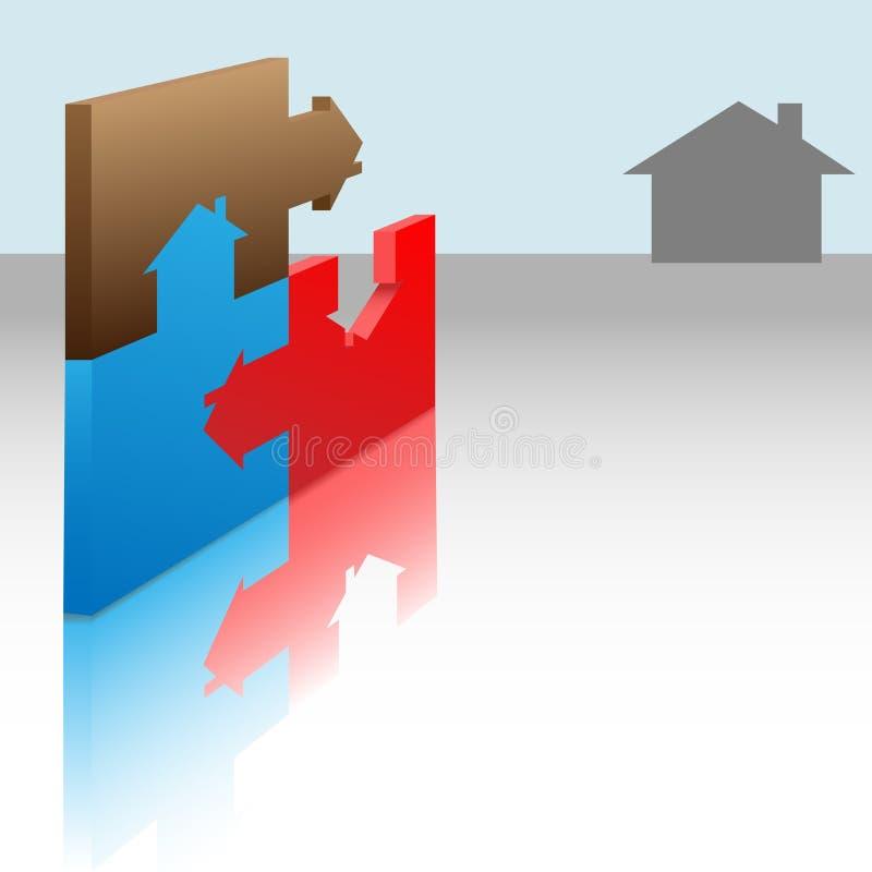 Le puzzle denteux rapièce la solution à la maison de Chambres illustration stock