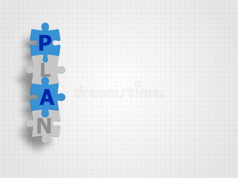 Le puzzle relié comme mot de PLAN sur le fond de grille représentent le concept d'affaires technologie de planète de téléphone de illustration de vecteur
