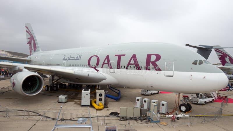 Le Qatar Airbus 380 image libre de droits